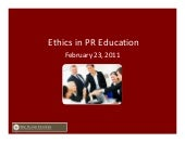 Ethics in PR Education
