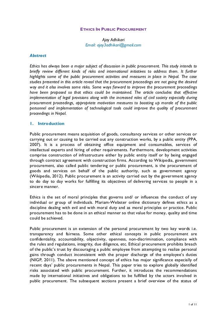 ethics in public procurement