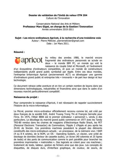 Les micro-ordinateurs Apricot, à la recherche d'une troisième voie