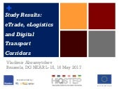 Results of the study on the harmonisation in e-Trade and e-Logistics between the European Union and the Eastern Partnership countries - 16.05.2018