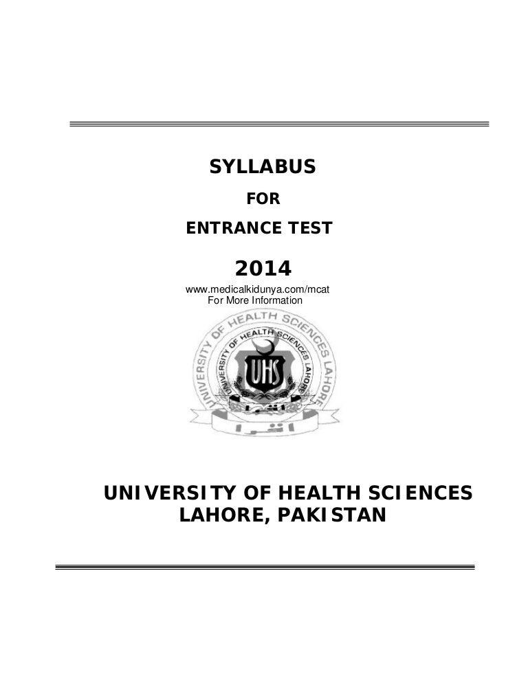 UHS Entrance Test MCAT Syllabus 2014
