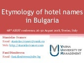 Etymology of hotel names in Bulgaria