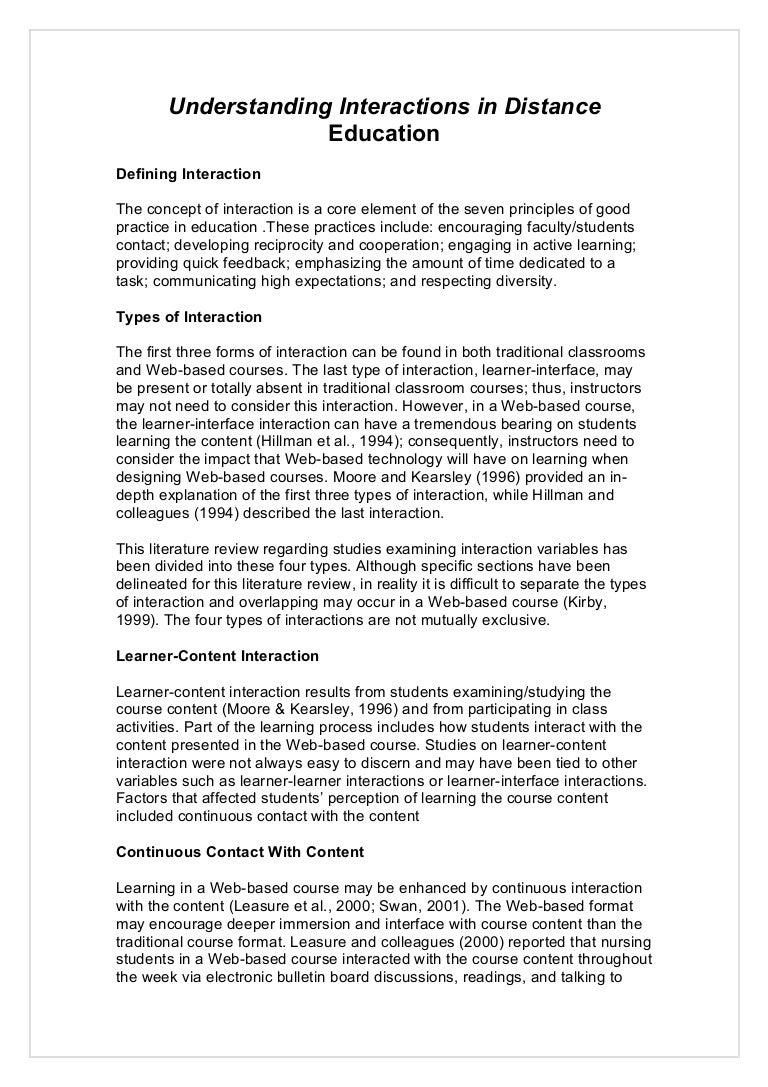 Distance learning literature review