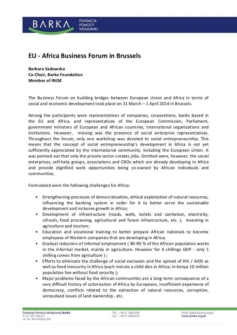 Eu africa business-forum_report_by_barbara_sadowska_barka