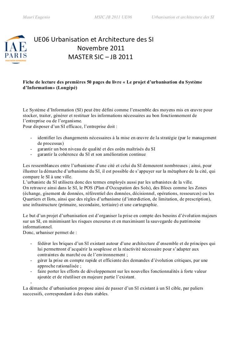 """Eugenio Mauri:fiche de lecture """"Le projet d'urbanisation ..."""