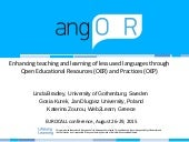 Enhancing teaching and learning of less used languages through Open Educational Resources (OER) and Practices (OEP)