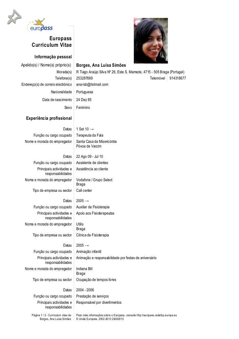 curriculum vitae exemplos em portugues