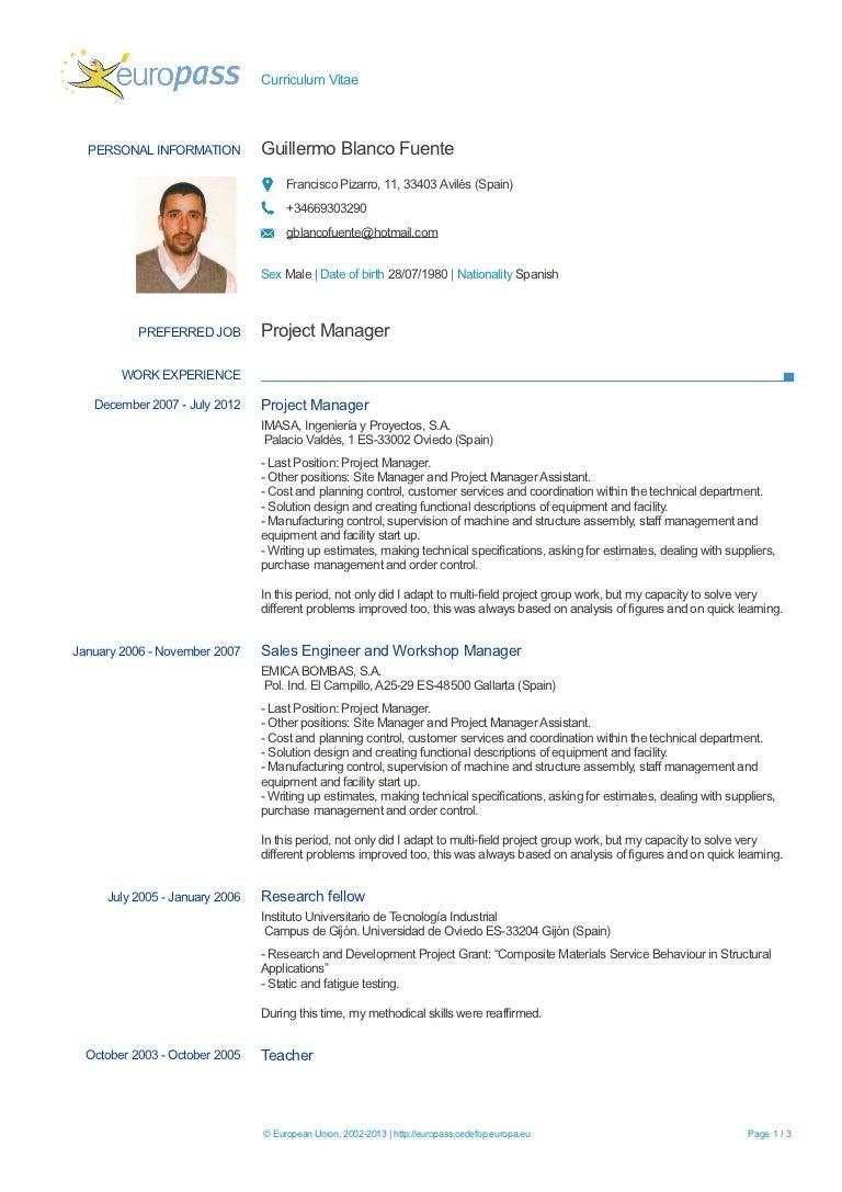 Europass CV Guillermo Blanco