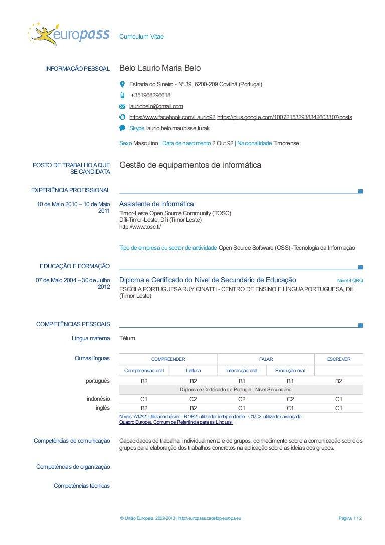 europass cv example laurio belo