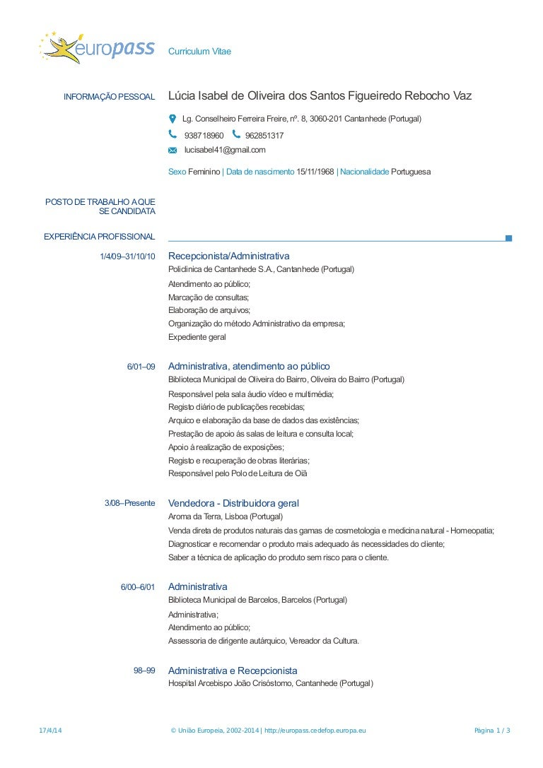 curriculum vitae para primeiro emprego europass