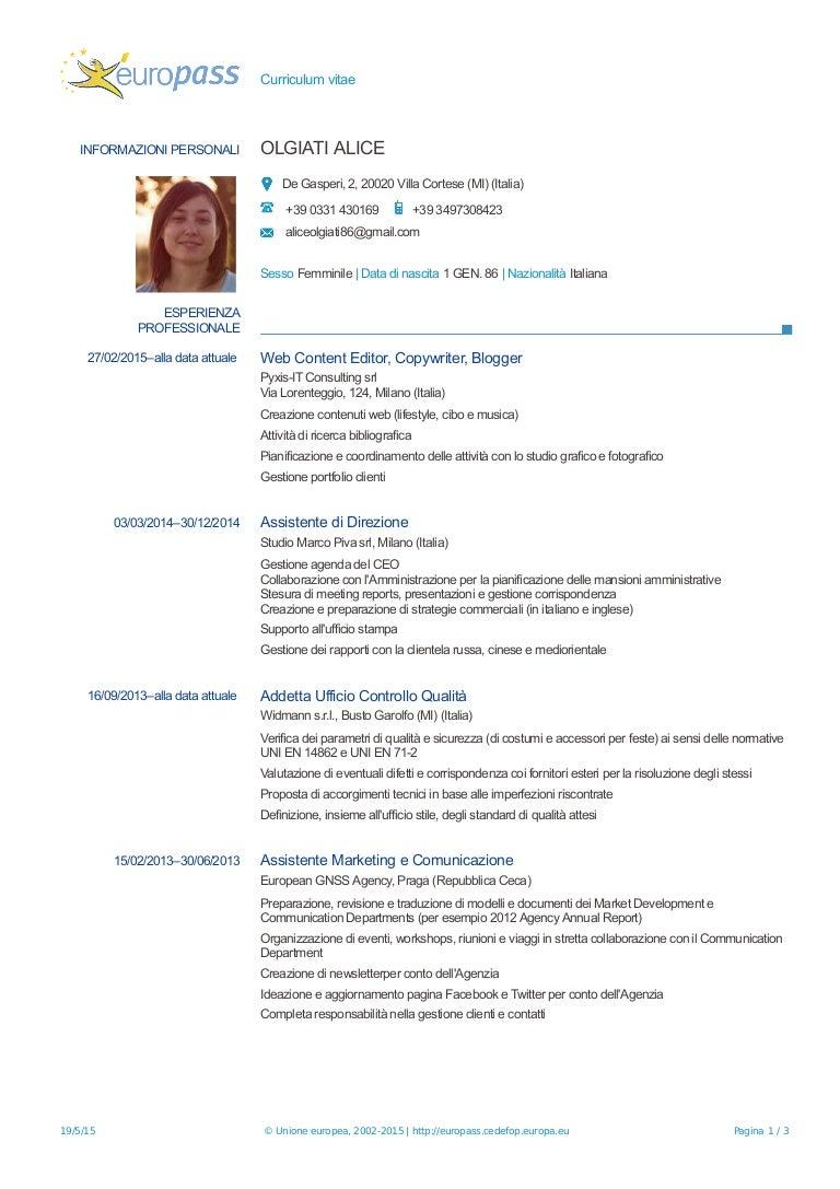 curriculum vitae europass italiano da compilare