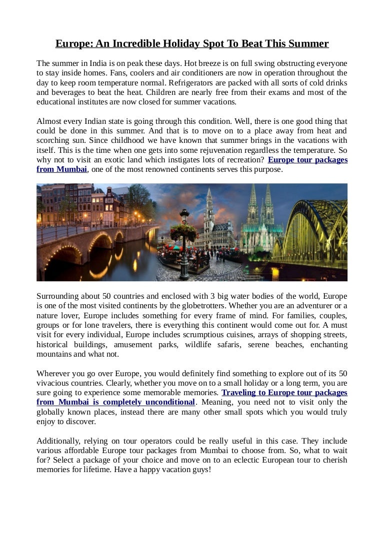 Tour operators in Europe: a selection of sites