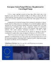 European Union Pump Efficiency Regulations for Centrifugal Pumps