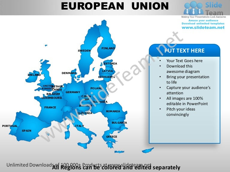 European union powerpoint editable continent map with countries templ toneelgroepblik Choice Image