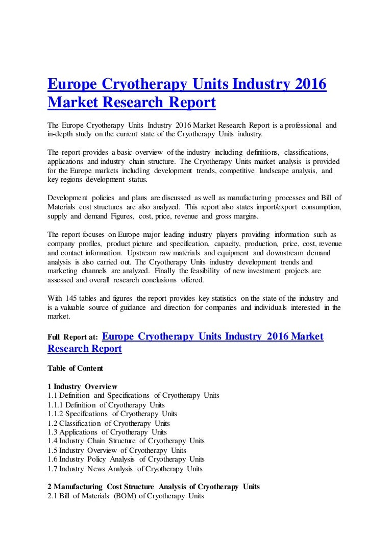 market research report structure