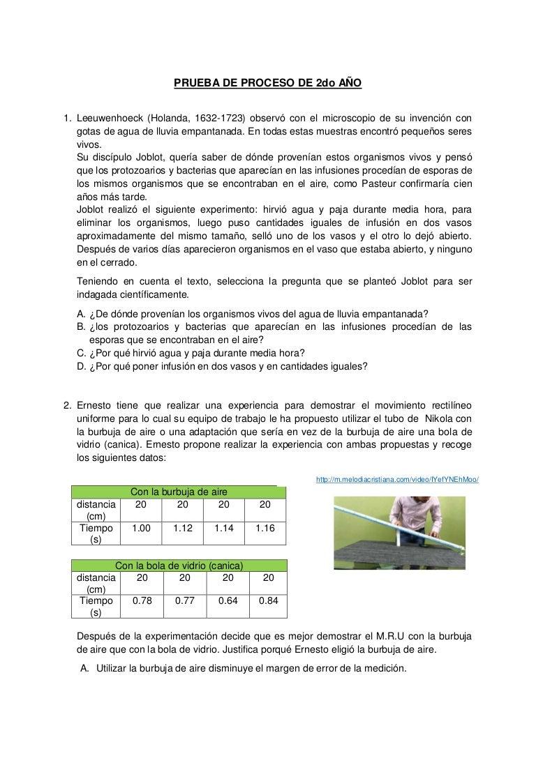 Evaluación de proceso cta 2° 2016