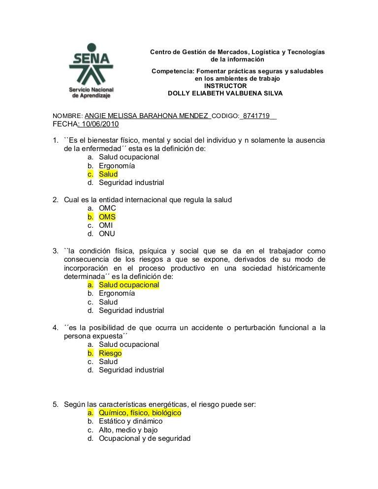 Evaluacion salud ocupacional corregida - Preguntas examen manipulador de alimentos ...