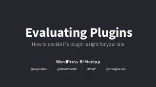 How to Evaluate WordPress Plugins Before Activating