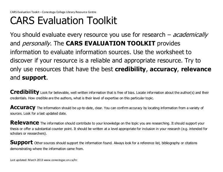 Evaluating Sources Using CARS – Evaluating Sources Worksheet