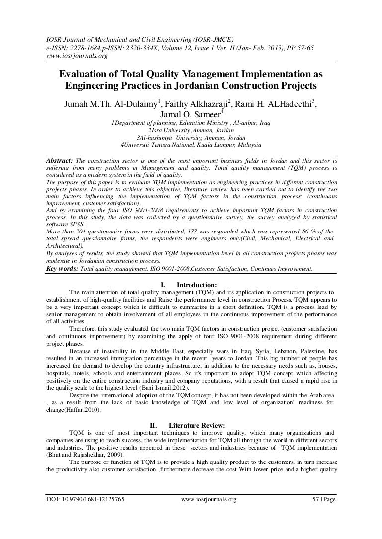 evaluation of total quality management implementation as engineering