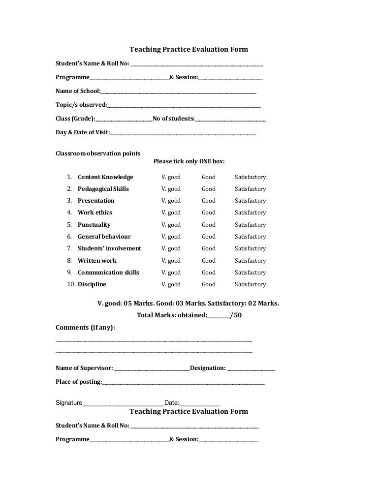 evaluation form teaching practice