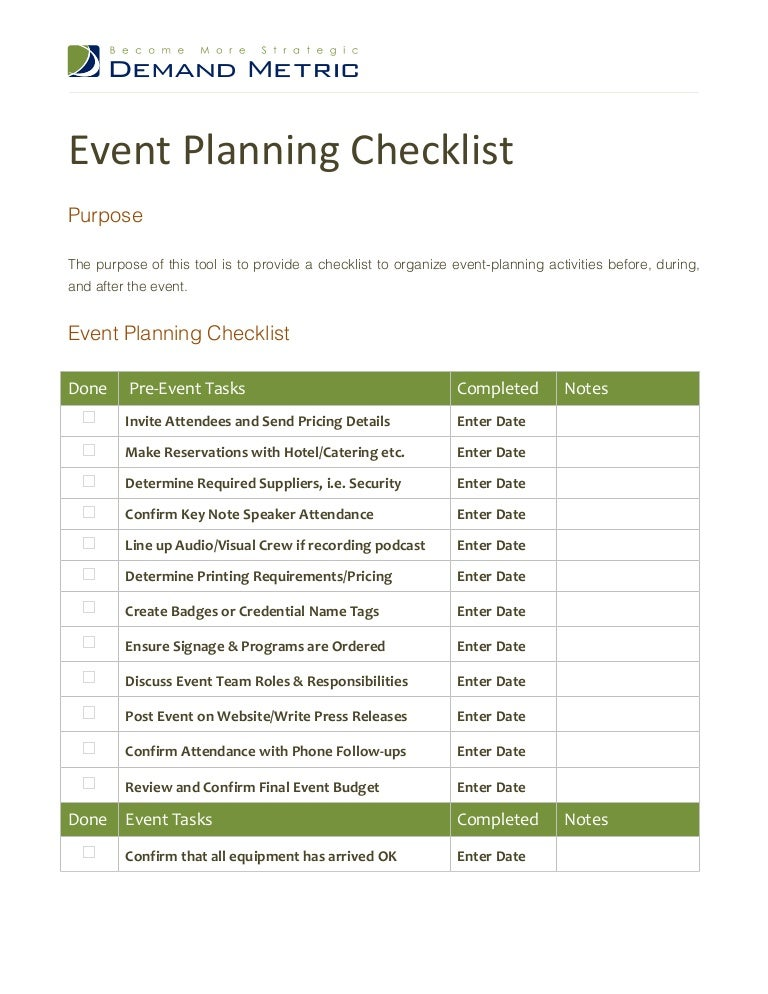 event planning checklist. Black Bedroom Furniture Sets. Home Design Ideas