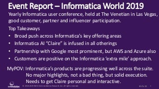 Event Report - Informatica InformaticaWorld 2019 - Progress across the Suite