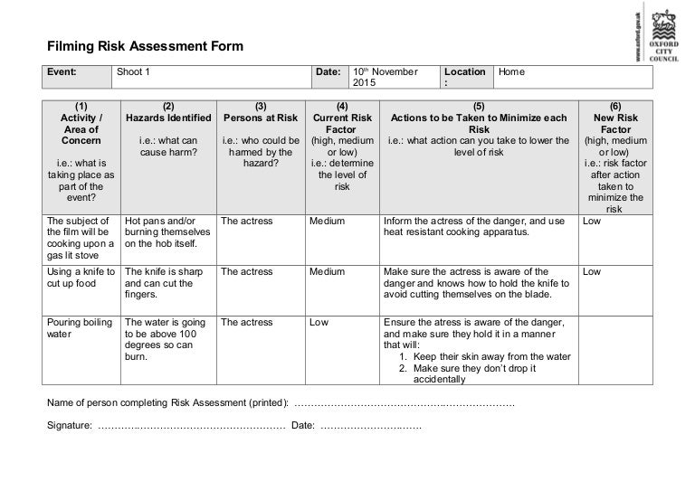 Filming risk assessment form for Formal risk assessment template