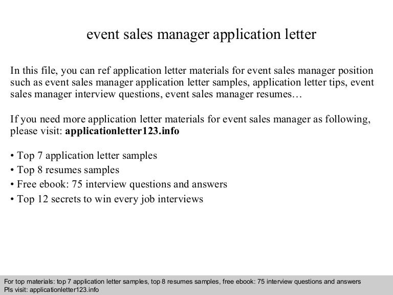 Event Sales Manager Application Letter