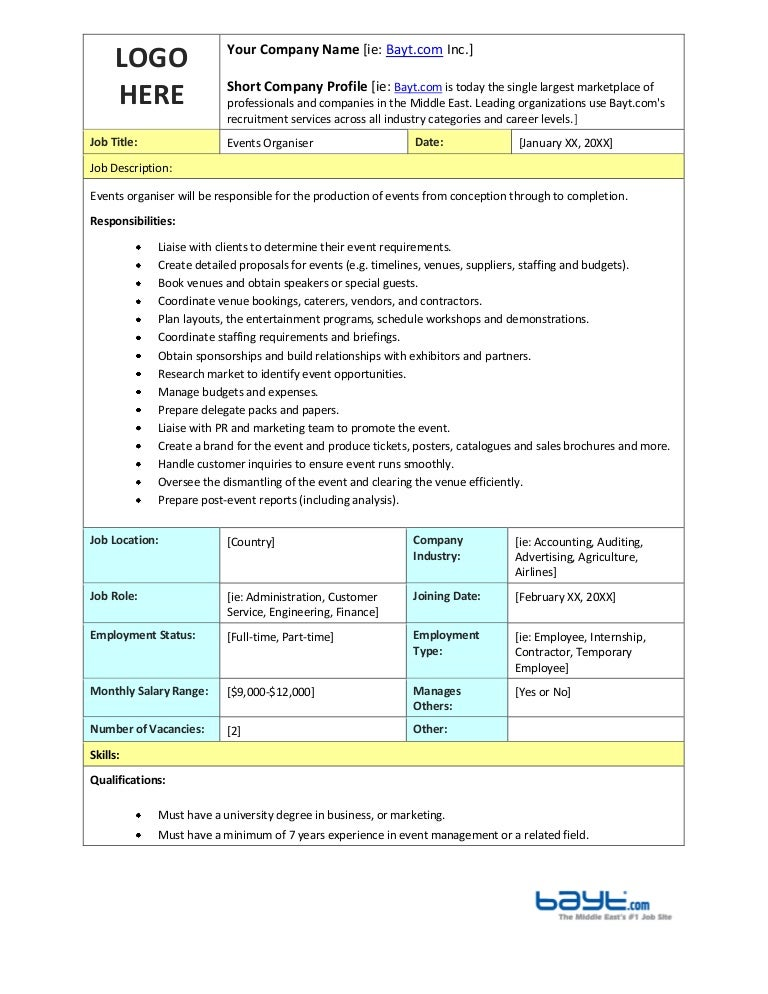 Events Organizer Job Description Template By BaytCom