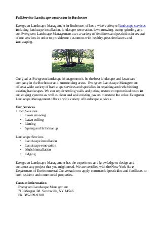 Landscape services in rochester, landscape installation