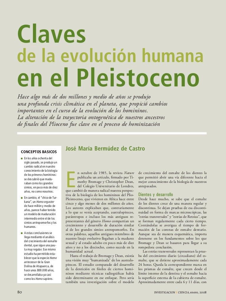 Claves de la evolucion humana en el Pleistoceno