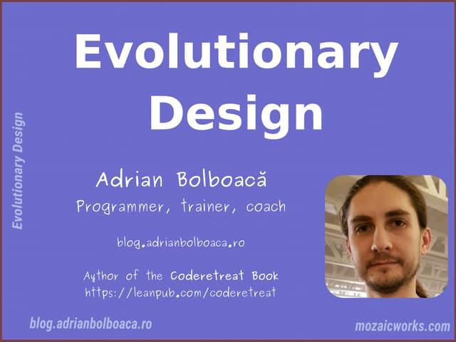 Evolutionary Design - NewCrafts Paris 18 May 2018