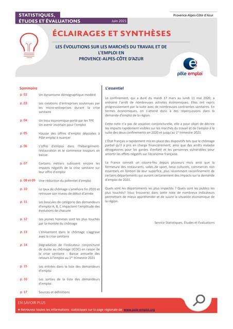 Evolutions du marche du travail et de emploi en région Provence Alpes Côte d'Azur 1er trimestre 2021
