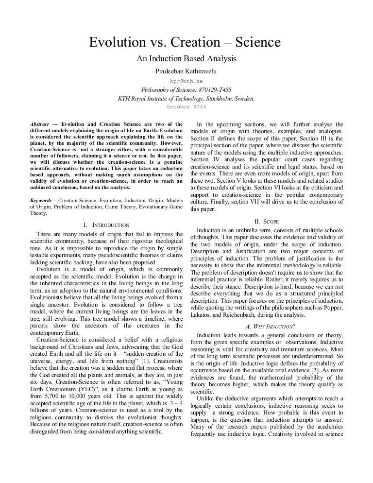 An Analysis of Creation and Evolution
