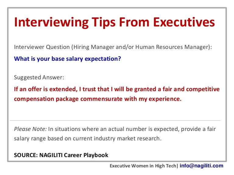 interviewing tips from executives salary expectations - What Are Your Expectations For The Job What Is Your Expected Salary
