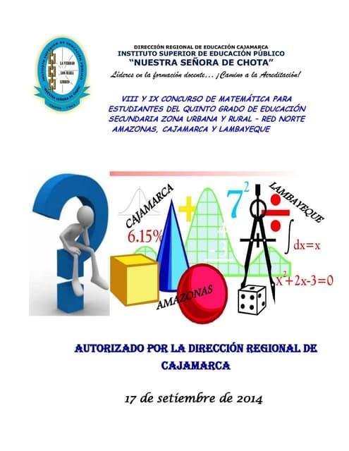"Examen  Concurso de Matemática 2014 - ISEP ""NSCH"""