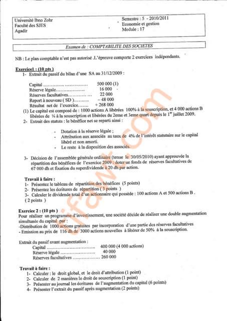 Examen comptabilité de société 1
