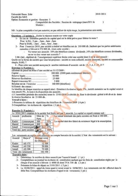 Examen comptabilité de société 2