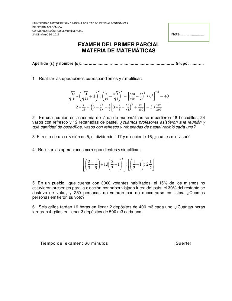 Examenes Pasados Resueltos Matematicas