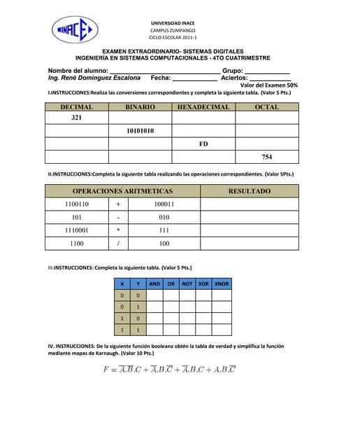 Examen EXTRA sistemas digitales