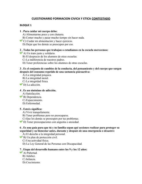 Examen de Formación Cívica y Ética CONTESTADO