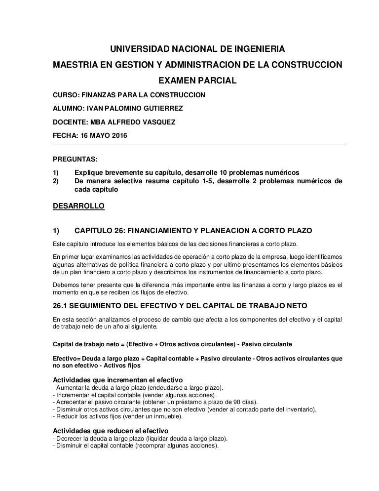 Examen parcial finanzas desarrollo de preguntas ivan palomino g.