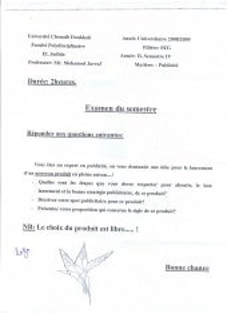 Examen publicité 2