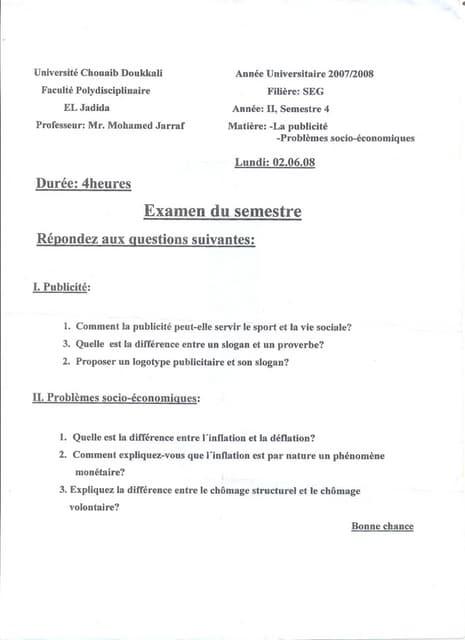 Examen (publicité + probléme économique et sociaux)