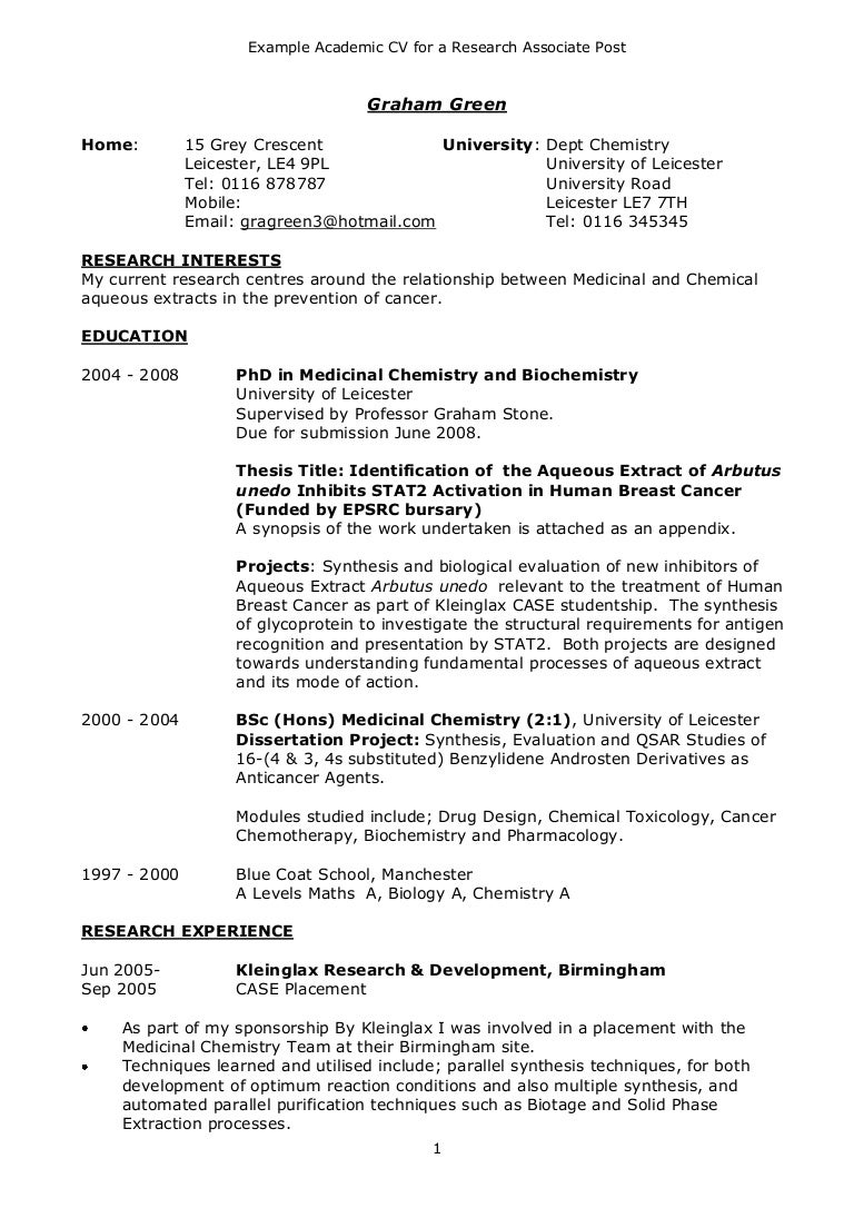 Example academic CV – Academic Resume