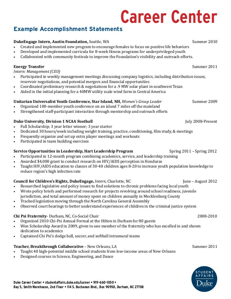 accomplishment resume sample