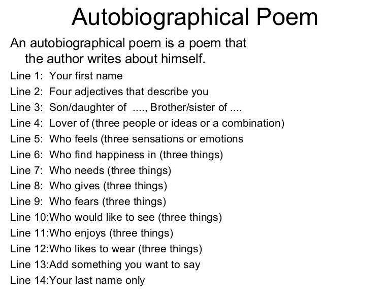 Example Of A Student Autobiographical Poem With Rules