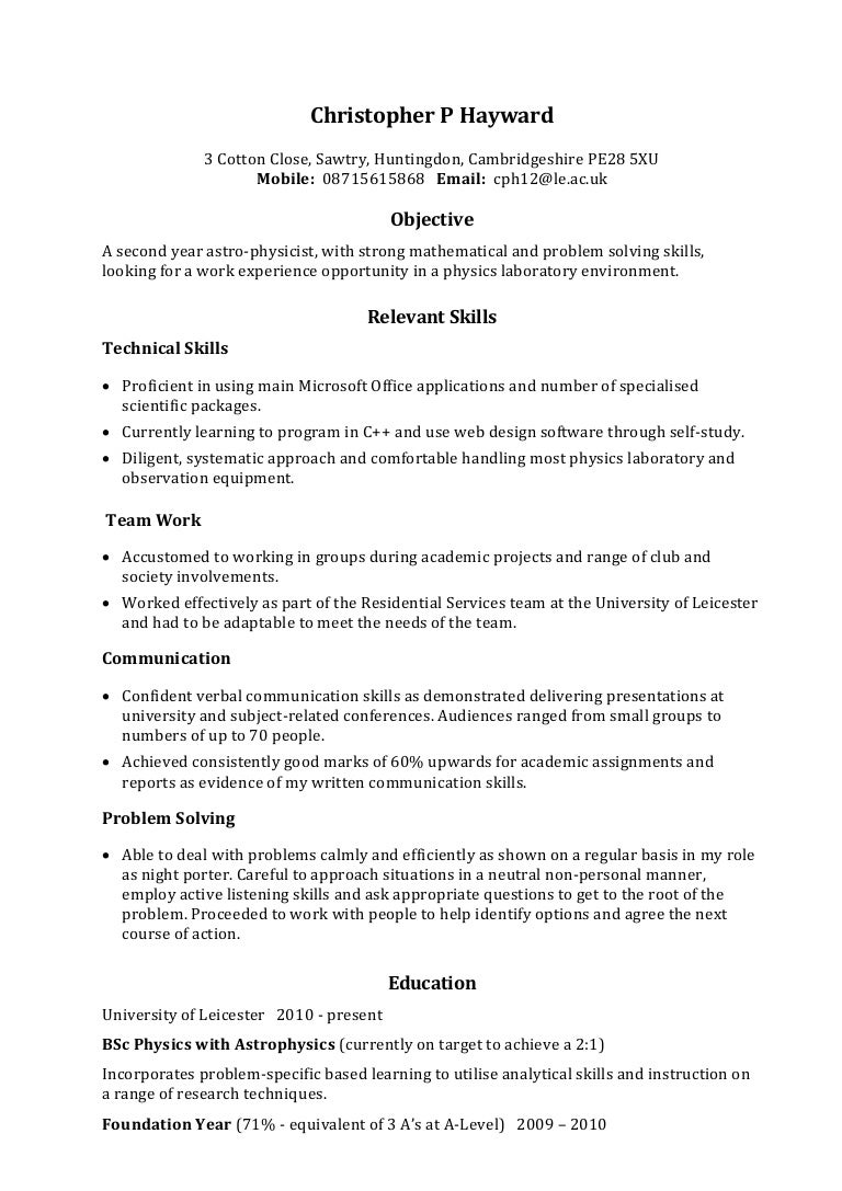 Resume Sample Skill  EczaSolinfCo