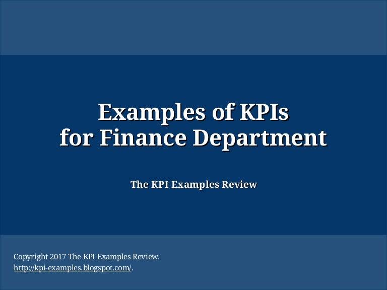 examples of kpis for finance department kpi of finance